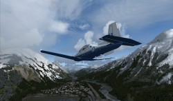 Prepar3D® 1.4 adds the IRIS T-6 Texan.  Image shows ORBX CZST Stewart Add-on Scenery.